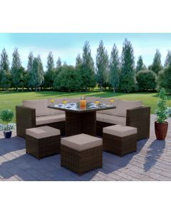 The Valencia Rattan Garden corner Dining set 7 seats Brown with Light Cushions