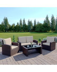 4 Piece Algarve Rattan Sofa Set in Brown With Light Cushions