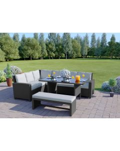 The Malibu 9 Seater Rattan Corner Garden Sofa & Dining Table Set in Solid Grey with Light Cushions