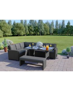 The Malibu 9 Seater Rattan Corner Sofa Set with Bench in Solid Grey with Dark Cushions