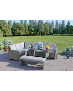 The Malibu 9 Seater Rattan Corner Sofa Set with Bench in Light Solid Grey with Light Cushions