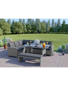 The Malibu 9 Seater Rattan Corner Sofa Set with Bench in Light Solid Grey with Dark Cushions