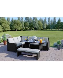 The Malibu 9 Seater Rattan Corner Sofa Set with Bench in Black with Light Cushions