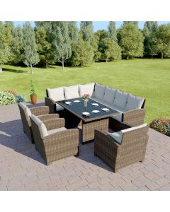 Bermuda 9 Seater Garden Round Rattan Dining Set Taupe with Light Cushions