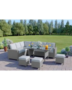 The Santorini 9 Seater Rattan Corner Garden Sofa & Dining Table Set in Light Solid Grey with Light Cushions