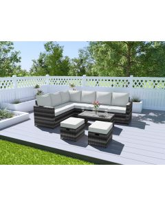 The Rio 9 Seater Rattan Corner Garden Sofa & Coffee Table Set in Mixed Grey With Light Cushions