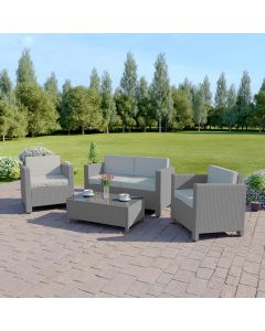 4 Piece Roma Rattan Sofa Set in Solid Light Grey with Light Cushions