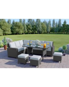 The Santorini 9 Seater Rattan Corner Garden Sofa & Dining Table Set in Solid Grey With Light Cushions