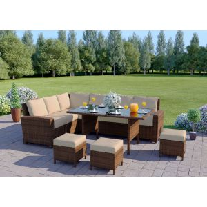 The Santorini 9 Seater Rattan Corner Garden Sofa & Dining Table Set in Brown With Light Cushions