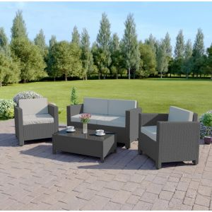 4 Piece Roma Rattan Sofa Set in Solid Grey with Light Cushions